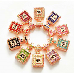 10PCS small PERFUME CHARMS rose gold 1440