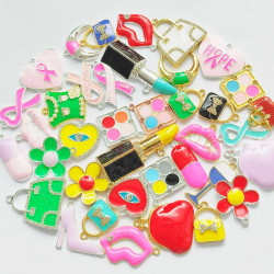 #50PCS Mixed Colorful Charms_PURSES, LIPSTICKS, LOCKS,etc.