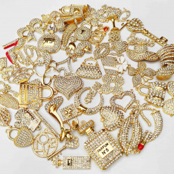 #2977 50PCS MIXED DELICATE GIRLS CHARMS GOLD  picked at random