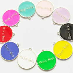 10pcs mixed & colorful round charms 1390