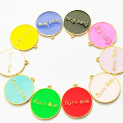 10pcs mixed & colorful round charms 1391