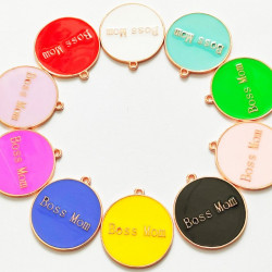 10pcs mixed & colorful round charms 1392
