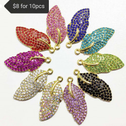10PCS LEAF CHARMS