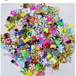 100PCS MIXED COLORFUL PURSE & FLOWER CHARMS
