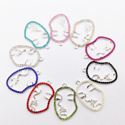 20PCS FACE CHARMS silver