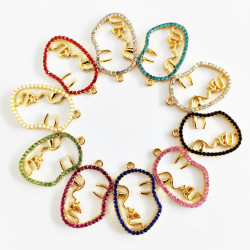 20PCS FACE CHARMS gold