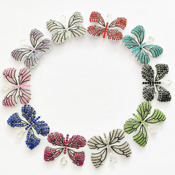 10PCS butterfly charms 02 silver